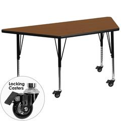 Mobile 25.5''W x 46.25''L Trapezoid Oak HP Laminate Activity Table - Height Adjustable Short Legs