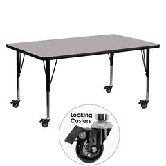 Flash Furniture Mobile 24''W x 60''L Rectangular Activity Table with 1.25'' Thick High Pressure Grey Laminate Top and Height Adjustable Preschool Legs