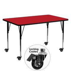 Mobile 24''W x 60''L Rectangular Red HP Laminate Activity Table - Standard Height Adjustable Legs