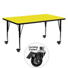 Flash Furniture Mobile 24''W x 60''L Rectangular Activity Table with 1.25'' Thick High Pressure Yellow Laminate Top and Height Adjustable Preschool Legs