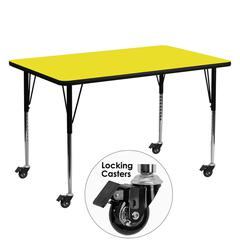 Mobile 30''W x 60''L Rectangular Yellow HP Laminate Activity Table - Standard Height Adjustable Legs