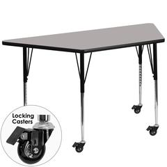 Mobile 30''W x 60''L Trapezoid Activity Table with 1.25'' Thick High Pressure Grey Laminate Top and Standard Height Adjustable Legs