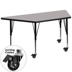 Mobile 30''W x 60''L Trapezoid Activity Table with 1.25'' Thick High Pressure Grey Laminate Top and Height Adjustable Preschool Legs