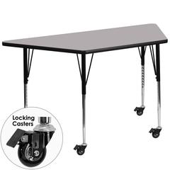 Mobile 30''W x 60''L Trapezoid Grey Thermal Laminate Activity Table - Standard Height Adjustable Legs