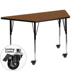 Flash Furniture Mobile 30''W x 60''L Trapezoid Activity Table with 1.25'' Thick High Pressure Oak Laminate Top and Standard Height Adjustable Legs