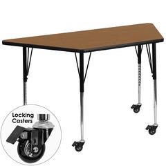 Mobile 30''W x 60''L Trapezoid Activity Table with Oak Thermal Fused Laminate Top and Standard Height Adjustable Legs