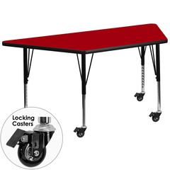 Mobile 30''W x 60''L Trapezoid Activity Table with Red Thermal Fused Laminate Top and Height Adjustable Preschool Legs
