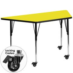 Mobile 30''W x 60''L Trapezoid Activity Table with 1.25'' Thick High Pressure Yellow Laminate Top and Standard Height Adjustable Legs