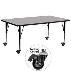 Mobile 30''W x 72''L Rectangular Grey HP Laminate Activity Table - Height Adjustable Short Legs