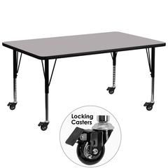Mobile 30''W x 72''L Rectangular Activity Table with Grey Thermal Fused Laminate Top and Height Adjustable Preschool Legs