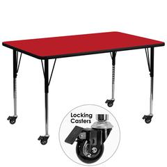 Mobile 30''W x 72''L Rectangular Activity Table with 1.25'' Thick High Pressure Red Laminate Top and Standard Height Adjustable Legs