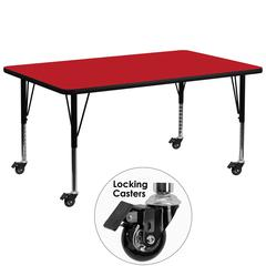 Mobile 30''W x 72''L Rectangular Activity Table with 1.25'' Thick High Pressure Red Laminate Top and Height Adjustable Preschool Legs