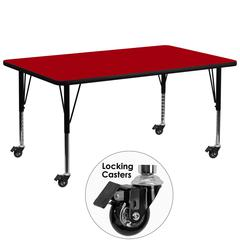 Mobile 30''W x 72''L Rectangular Activity Table with Red Thermal Fused Laminate Top and Height Adjustable Preschool Legs