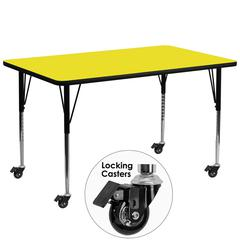 Mobile 30''W x 72''L Rectangular Activity Table with 1.25'' Thick High Pressure Yellow Laminate Top and Standard Height Adjustable Legs