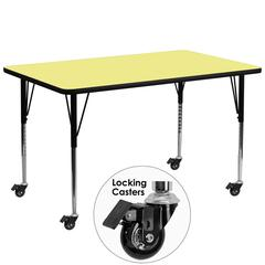 Mobile 30''W x 72''L Rectangular Activity Table with Yellow Thermal Fused Laminate Top and Standard Height Adjustable Legs