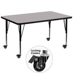 Mobile 36''W x 72''L Rectangular Grey Thermal Laminate Activity Table - Height Adjustable Short Legs