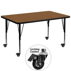 Mobile 36''W x 72''L Rectangular Oak HP Laminate Activity Table - Height Adjustable Short Legs