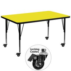 Mobile 36''W x 72''L Rectangular Activity Table with 1.25'' Thick High Pressure Yellow Laminate Top and Height Adjustable Preschool Legs
