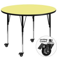 Mobile 42'' Round Activity Table with Yellow Thermal Fused Laminate Top and Standard Height Adjustable Legs