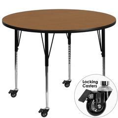 Mobile 48'' Round Oak Thermal Laminate Activity Table - Standard Height Adjustable Legs