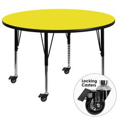 Mobile 48'' Round Yellow HP Laminate Activity Table - Height Adjustable Short Legs