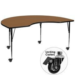Mobile 48''W x 72''L Kidney Oak Thermal Laminate Activity Table - Standard Height Adjustable Legs