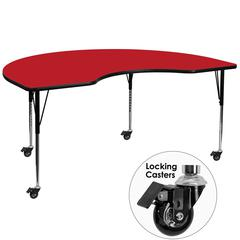 Flash Furniture Mobile 48''W x 72''L Kidney Shaped Activity Table with 1.25'' Thick High Pressure Red Laminate Top and Standard Height Adjustable Legs