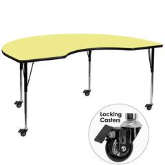 Flash Furniture Mobile 48''W x 72''L Kidney Shaped Activity Table with Yellow Thermal Fused Laminate Top and Standard Height Adjustable Legs