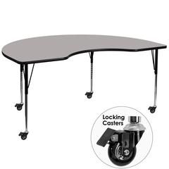 Mobile 48''W x 96''L Kidney Grey HP Laminate Activity Table - Standard Height Adjustable Legs