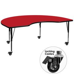 Mobile 48''W x 96''L Kidney Red HP Laminate Activity Table - Height Adjustable Short Legs