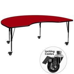 Mobile 48''W x 96''L Kidney Red Thermal Laminate Activity Table - Height Adjustable Short Legs