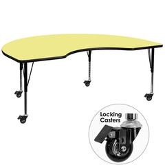 Mobile 48''W x 96''L Kidney Yellow Thermal Laminate Activity Table - Height Adjustable Short Legs