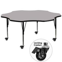 Mobile 60'' Flower Grey Thermal Laminate Activity Table - Height Adjustable Short Legs