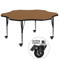 Mobile 60'' Flower Oak Thermal Laminate Activity Table - Height Adjustable Short Legs