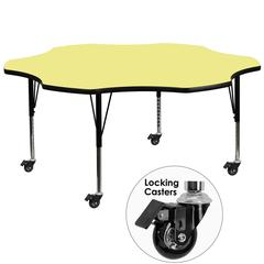 Mobile 60'' Flower Shaped Activity Table with Yellow Thermal Fused Laminate Top and Height Adjustable Preschool Legs