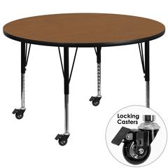 Mobile 60'' Round Oak Thermal Laminate Activity Table - Height Adjustable Short Legs