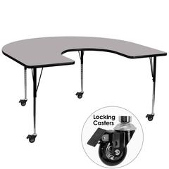 Mobile 60''W x 66''L Horseshoe Grey Thermal Laminate Activity Table - Standard Height Adjustable Legs