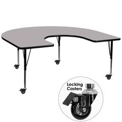 Mobile 60''W x 66''L Horseshoe Grey Thermal Laminate Activity Table - Height Adjustable Short Legs