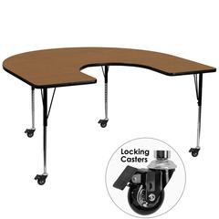 Mobile 60''W x 66''L Horseshoe Oak Thermal Laminate Activity Table - Standard Height Adjustable Legs