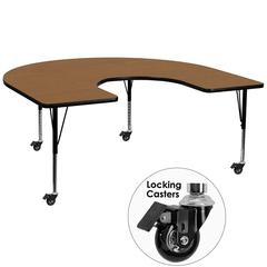 Mobile 60''W x 66''L Horseshoe Oak Thermal Laminate Activity Table - Height Adjustable Short Legs