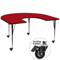 Mobile 60''W x 66''L Horseshoe Red Thermal Laminate Activity Table - Standard Height Adjustable Legs