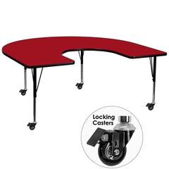 Mobile 60''W x 66''L Horseshoe Shaped Activity Table with Red Thermal Fused Laminate Top and Height Adjustable Preschool Legs