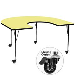 Mobile 60''W x 66''L Horseshoe Yellow Thermal Laminate Activity Table - Standard Height Adjustable Legs