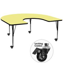Mobile 60''W x 66''L Horseshoe Shaped Activity Table with Yellow Thermal Fused Laminate Top and Height Adjustable Preschool Legs