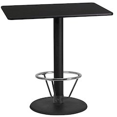 24'' x 42'' Rectangular Black Laminate Table Top with 24'' Round Bar Height Table Base and Foot Ring