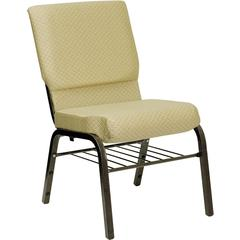 Flash Furniture HERCULES Series 18.5''W Beige Patterned Fabric Church Chair with 4.25'' Thick Seat, Book Rack - Gold Vein Frame