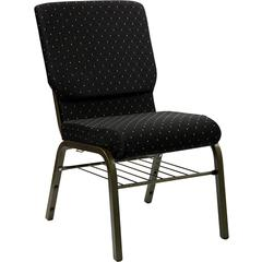 Flash Furniture HERCULES Series 18.5''W Black Dot Patterned Fabric Church Chair with 4.25'' Thick Seat, Book Rack - Gold Vein Frame