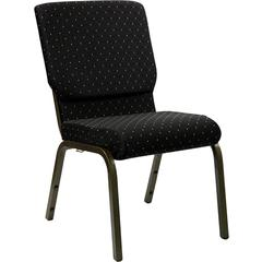 HERCULES Series 18.5''W Black Dot Patterned Fabric Stacking Church Chair with 4.25'' Thick Seat - Gold Vein Frame
