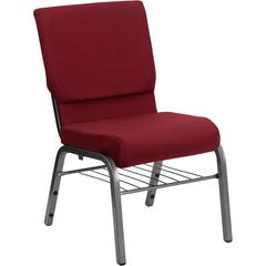 HERCULES Series 18.5''W Burgundy Fabric Church Chair with 4.25'' Thick Seat, Book Rack - Silver Vein Frame