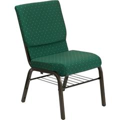 HERCULES Series 18.5''W Green Patterned Fabric Church Chair with 4.25'' Thick Seat, Book Rack - Gold Vein Frame